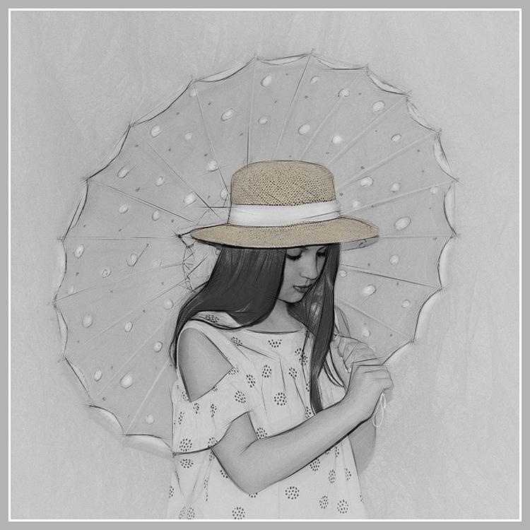Valerie Interligi - Lexi With Her Umbrella - Salon IOM BW