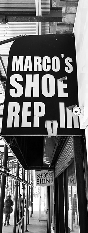 Barry Elberg - Shoe Repair Sign B IOM BW